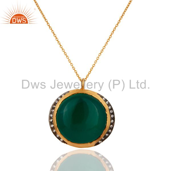 18K Gold Plated 925 Sterling Silver Green Onyx Gemstone Pendant Necklace