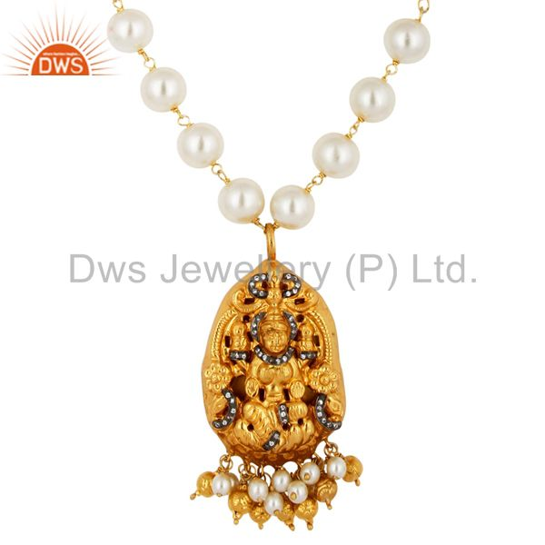 18K Gold Plated 925 Sterling Silver Hand Crafted Natural Pearl Pendant Necklace