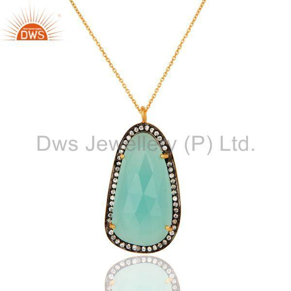 925 Sterling Silver Lab Created Synthetic Aqua Blue Chalcedony Pendant With CZ