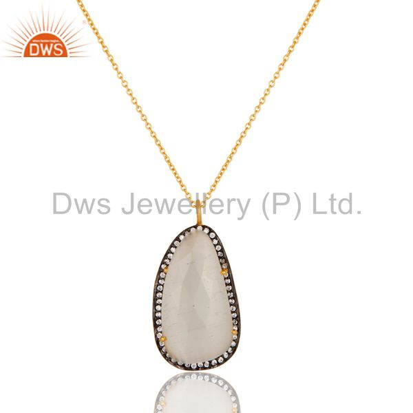 Gold plated prong set white moonstone sterling silver pendant necklace