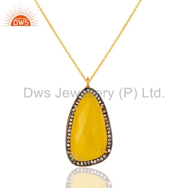 Gold Plated Prong Set Yellow Moonstone Sterling Silver Pendant Necklace