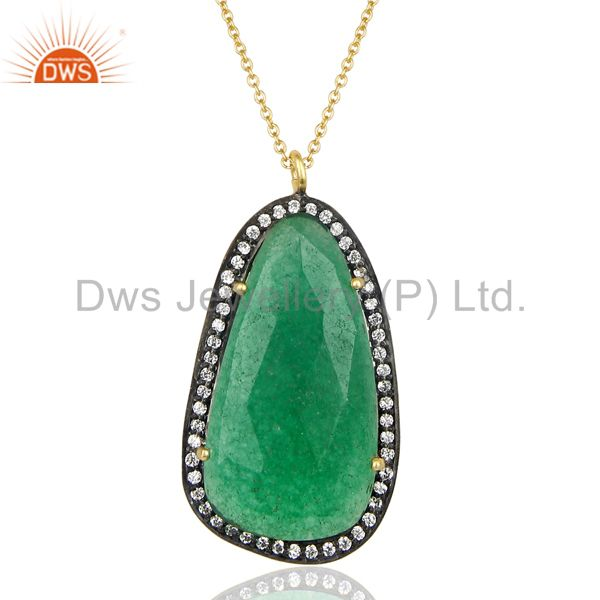 14k Gold Plated 925 Sterling Silver Green Aventurine CZ Gemstone Chain Pendant