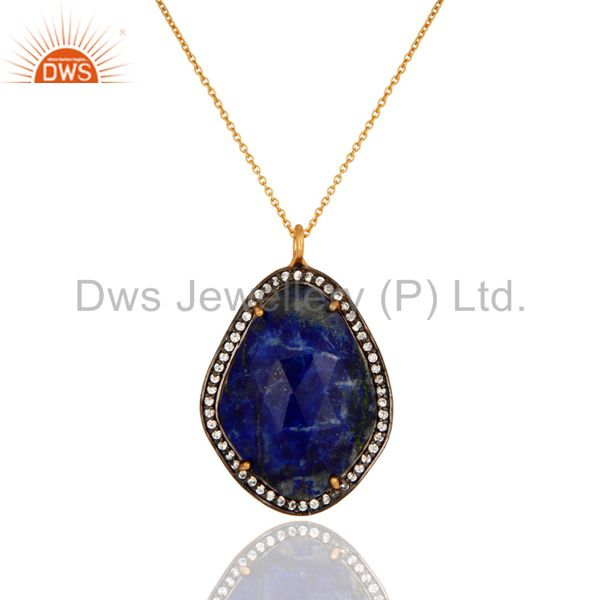 22K Gold Plated 925 Sterling Silver Lapis Lazuli Gemstone Pendant With Chain