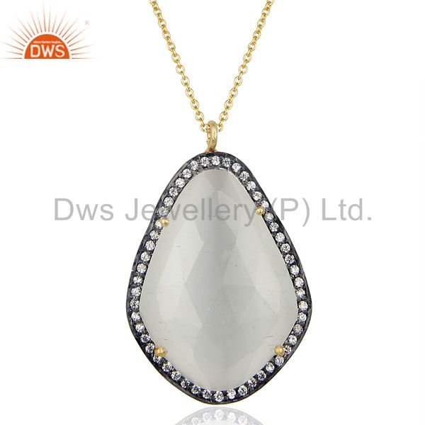 14K Gold Plated 925 Sterling Silver Moonstone CZ Chain Pendant Jewelry