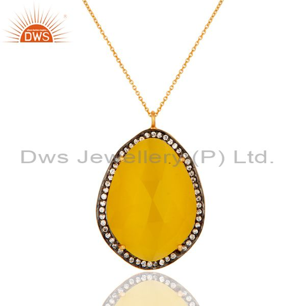 14K Gold Plated Sterling Silver Yellow Moonstone And CZ Fashion Pendant Necklace