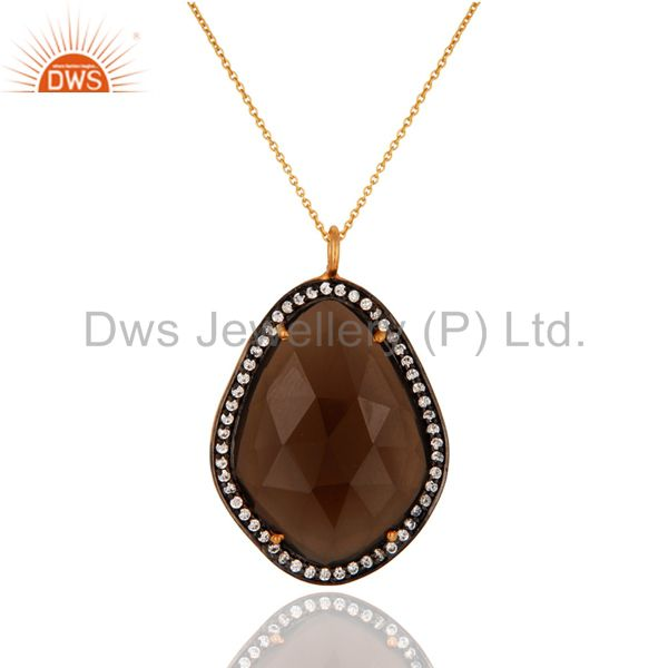 Natural Smoky Quartz Gemstone Pendant Made In 18K Gold Over Sterling Silver