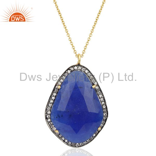 18K Gold Plated 925 Sterling Silver Blue Aventurine Gemstone Chain Pendant