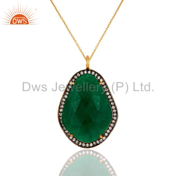 925 Sterling Silver Green Onyx Gemstone Gold Plated Pendant Necklace With CZ