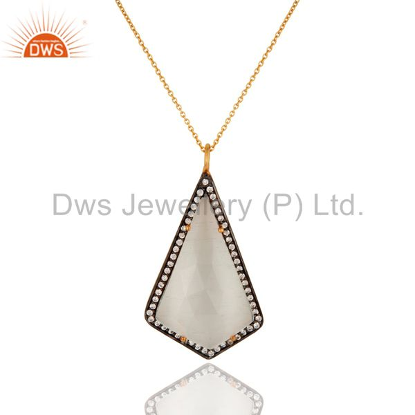 14K Gold Plated 925 Sterling Silver Moonstone Zircon Chain Pendant Jewelry