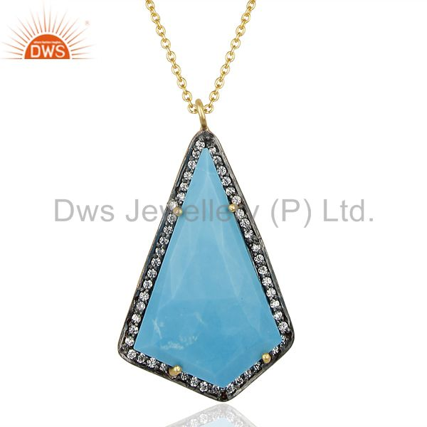 14K Gold Plated 925 Sterling Silver Turquoise CZ Gemstone Chain Pendant Jewelry