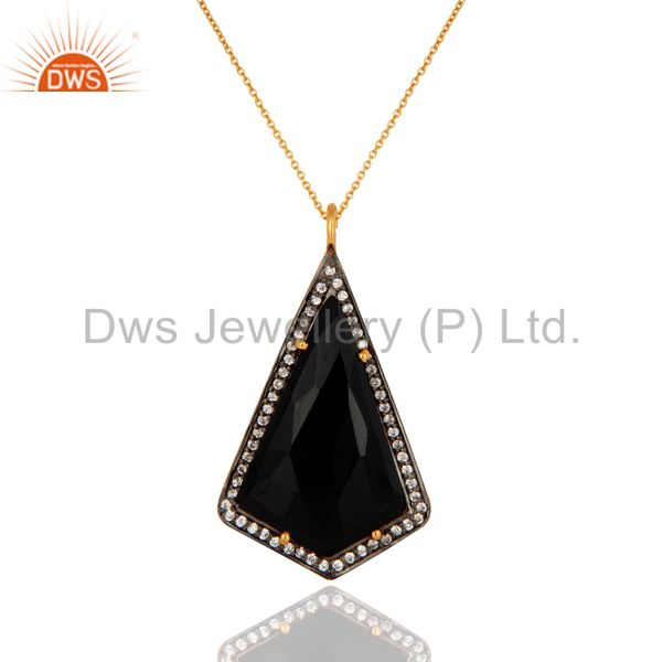 Black Onyx Faceted Gemstone Prong Set Gold Plated Sterling Silver Pendant 16