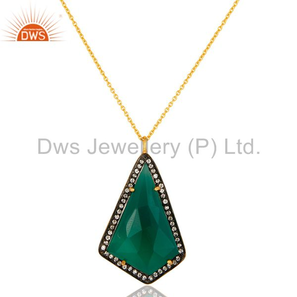 14K Yellow Gold Plated Sterling Silver Green Onyx And CZ Pendant With Chain