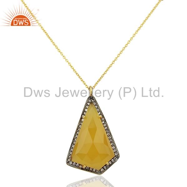 Yellow Chalcedony Gemstone CZ 925 Silver Chain Pendant Jewelry
