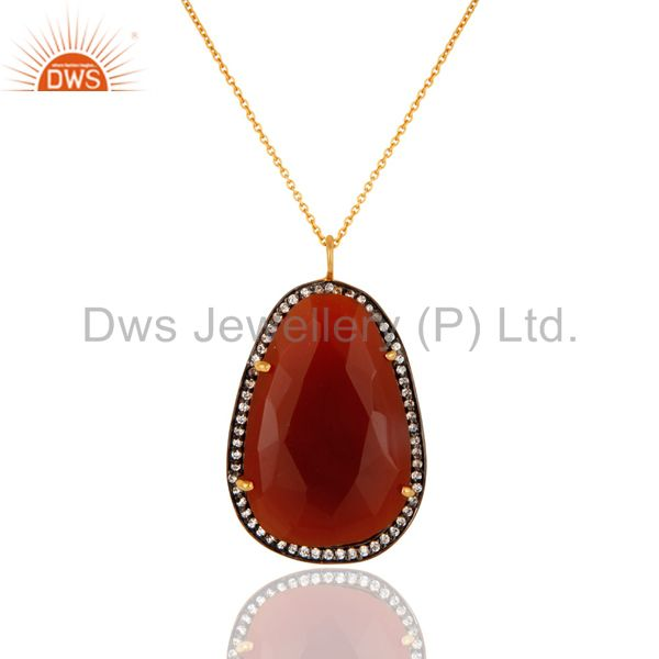 Red Onyx Gemstone Pendant Necklace Made In 24K Gold Over Sterling Silver Jewelry