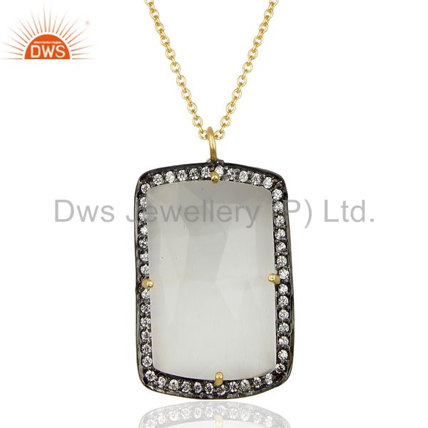 14k gold plated 925 sterling silver moonstone cz gemstone chain pendant