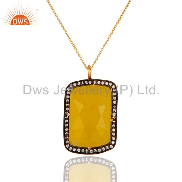 "925 Silver Yellow Moonstone 18K Gold Plated Gemstone Pendant With 16"" Chain"
