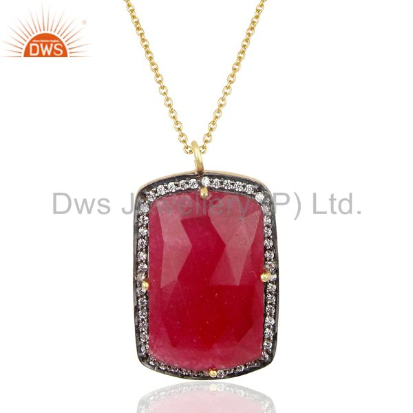 14k gold plated 925 sterling silver red aventurine cz gemstone chain pendant
