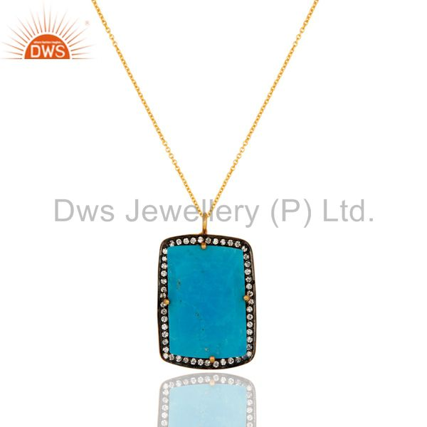 Prong set created turquoise gemstone pendant in sterling silver with gold plated