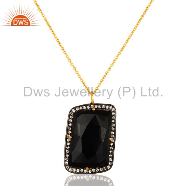 18K Yellow Gold Plated Sterling Silver Black Onyx And CZ Pendant With Chain