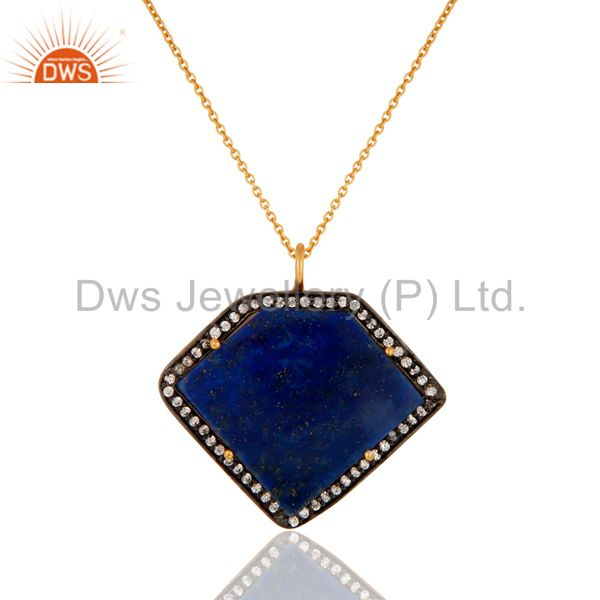 Lapis Lazuli Gemstone Pendant Necklace Made In Sterling Siver With Gold Plated