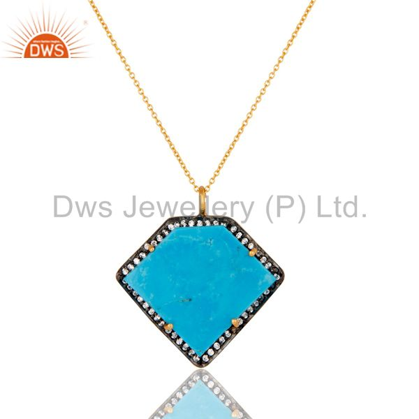 Sterling Silver With Gold Plated Turquoise Cultured Designer Pendant Chain