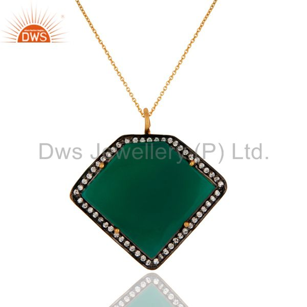 18k gold plated 925 sterling silver green onyx gemstone pendant with chain