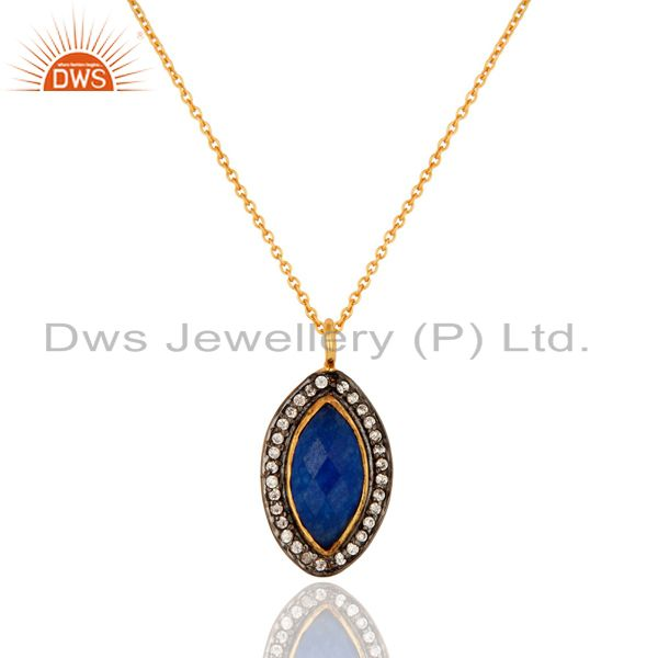 14K Yellow Gold Plated Blue Aventurine Gemstone And Cubic Zirconia Pendant Chain