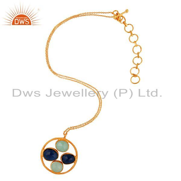 18K Gold Plated 925 Sterling Silver Aqua Chalcedony & Blue Corundum Pendant