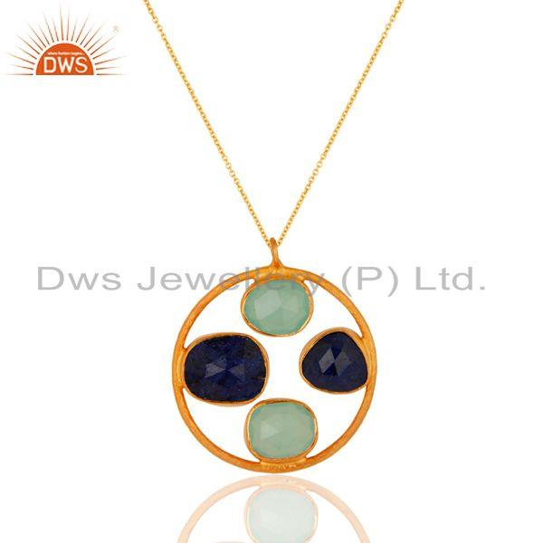 Handmade Gold Plated 925 Silver Multi Gemstone Chain Pendant Supplier