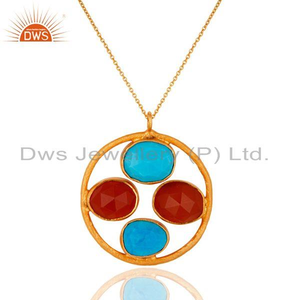 18K Gold Over Sterling Silver Turquoise & Carnelian Gemstone Handmade Pendant