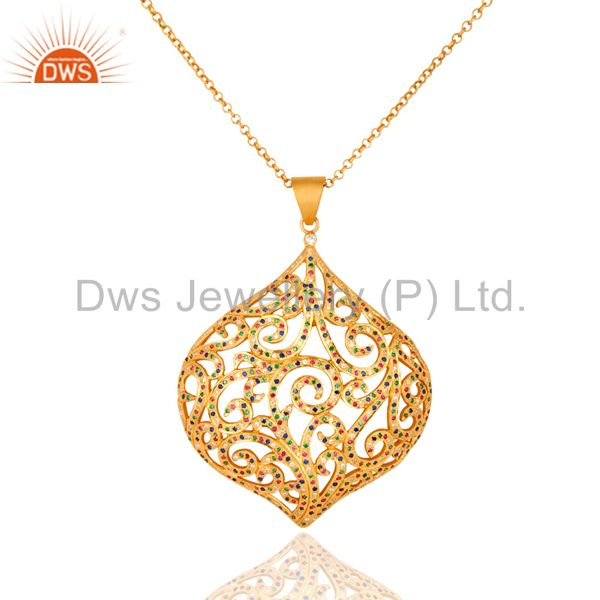 Gold plated sterling silver multicolor cubic zirconia designer pendant necklace