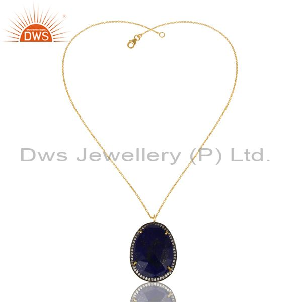 14K Gold Plated 925 Sterling Silver Lapis Lazuli White Zircon Chain Pendant