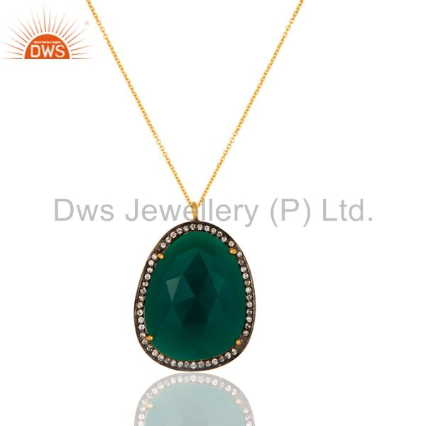 Prong Set Green Onyx Gemstone Pendant Necklace - Sterling Silver Gold Plated