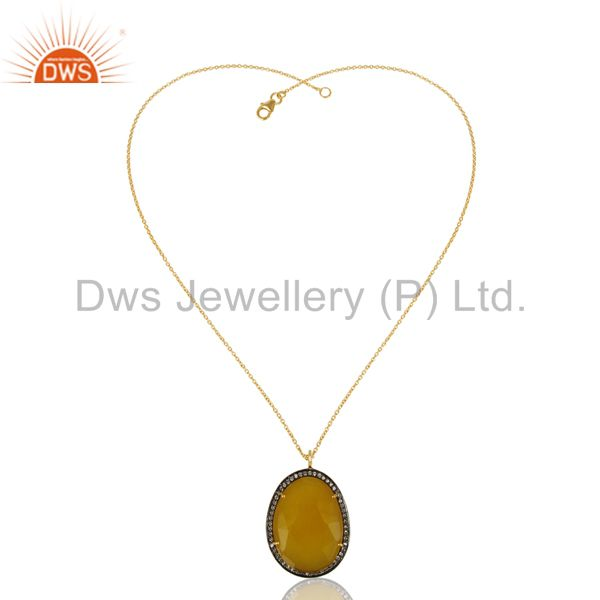 14k gold plated 925 sterling silver dyed chalcedony zircon prong chain pendant