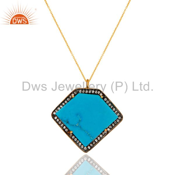 18k gold plated sterling silver turquoise gemstone pendant necklace