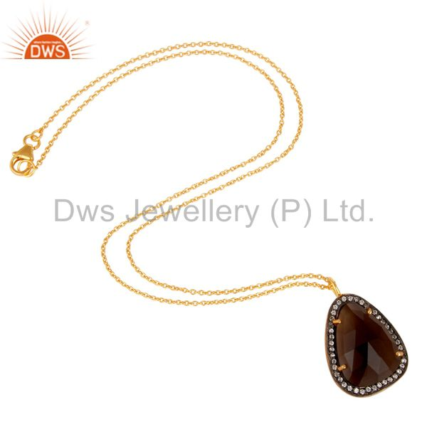 Smokey Quartz and Zircon 18K Gold Plated 925 Silver Handmade Pendant Necklace