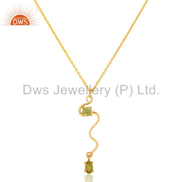 18K Yellow Gold Plated Sterling Silver Peridot Gemstone Pendant With Chain