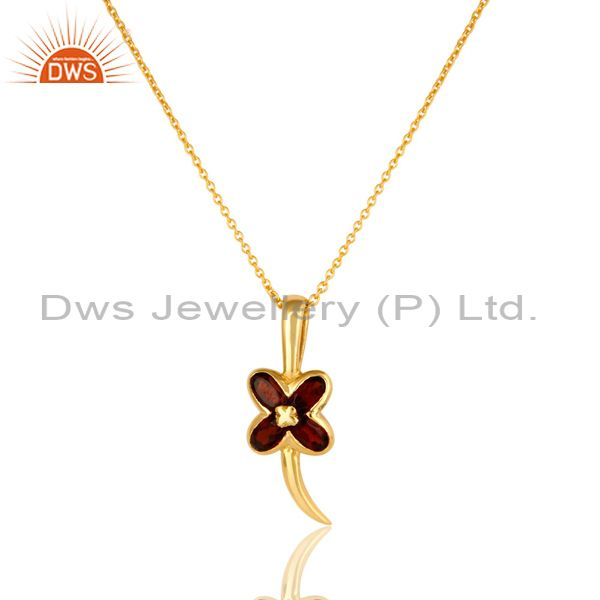 14K Yellow Gold Plated Sterling Silver Garnet Gemstone Flower Pendant With Chain