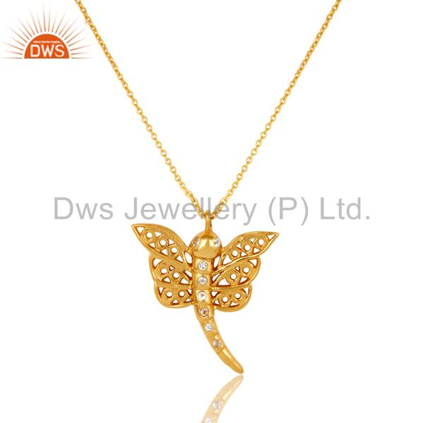 14K Gold Plated Sterling Silver White Topaz Butterfly Designer Pendant Necklace