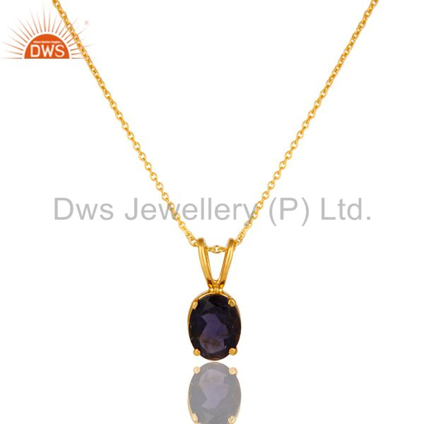18k yellow gold plated sterling silver iolite gemstone pendant with chain