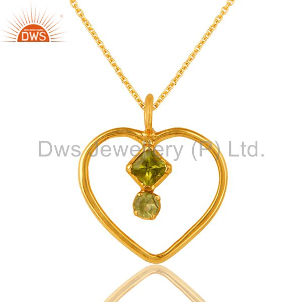18K Gold Over Sterling Silver Peridot Gemstone Heart Pendant Necklace