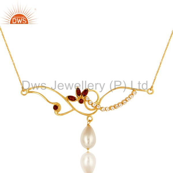 14K Yellow Gold Plated Sterling Silver Garnet, Pearl And White Topaz Necklace