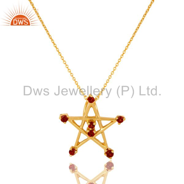18K Gold Plated Sterling Silver Garnet Star Of David Pendant With Chain