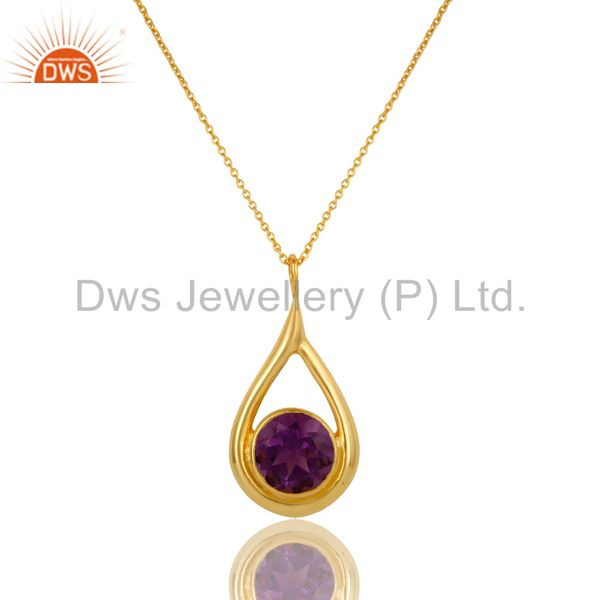 14K Yellow Gold Plated Sterling Silver Amethyst Gemstone Drop Pendant With Chain
