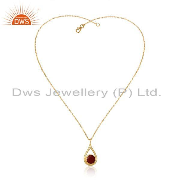 Red Onyx Set Pear Shaped Pendant And Gold On Silver Chain