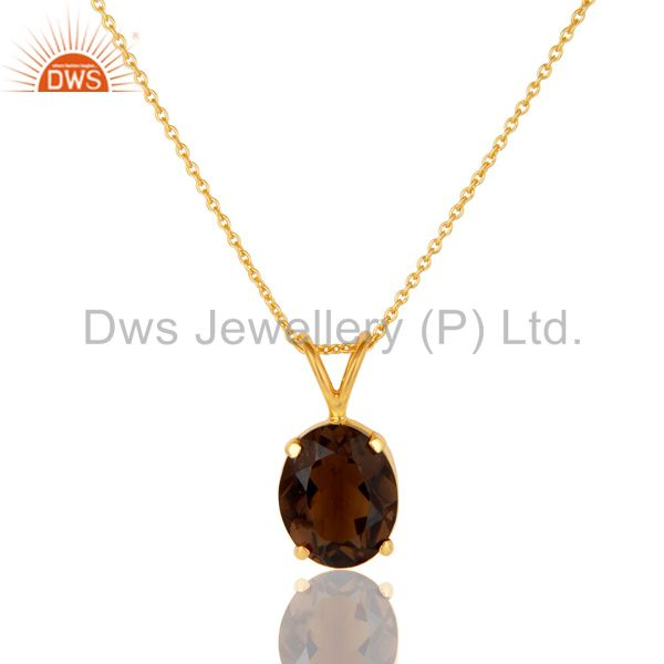 925 sterling silver smoky quartz prong-set gemstone pendant with chain
