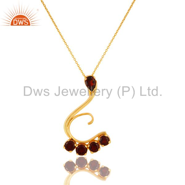 14K Yellow Gold Plated Sterling Silver Garnet Designer Pendant With Chain