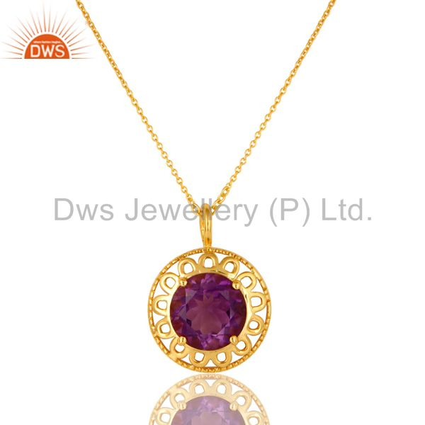 14K Yellow Gold Plated Sterling Silver Amethyst Designer Pendant With Chain