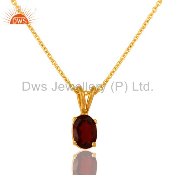 18K Gold Over Sterling Silver Prong Set Garnet Gemstone Pendant With Chain