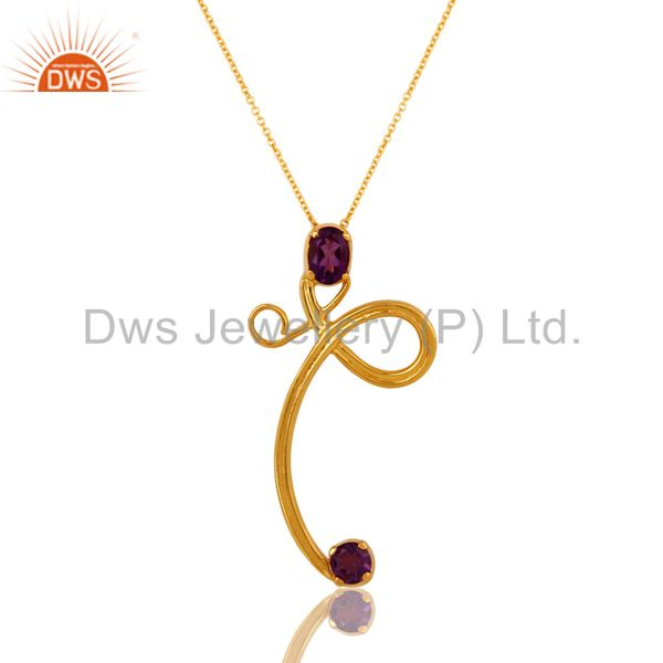 925 Sterling Silver Natural Purple Amethyst Designer Pendant - Gold Plated